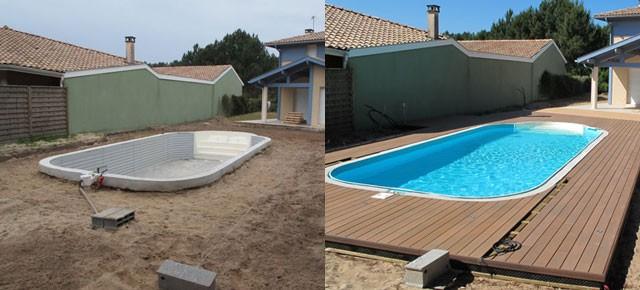 Terrasse autour d'une piscine à Soustons plage